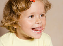 Small girl with open mouth Stock Photo