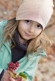 Small  girl outdoor portrait.Child in autumn park. Stock Photo