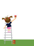 Small girl painting. On empty wall and standing on ladder Royalty Free Stock Image