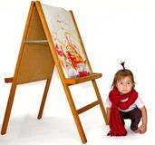 Small girl painting Stock Photo