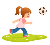 Small girl playing football Stock Images
