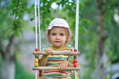 Small girl playing outdoor Stock Images