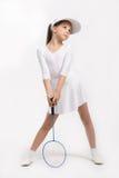Small girl playing tennis Stock Photo