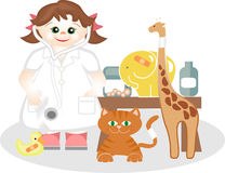 Small girl playing the veterinary medicine. Disguised small girl playing the veterinary medicine, with its animals of toys royalty free illustration