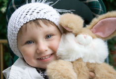 Small girl with plush toy Royalty Free Stock Images