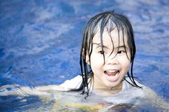 Small Girl in Pool Stock Images