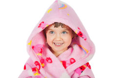 Small girl portrait in bathrobe Stock Photos