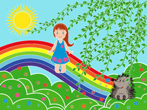 Small girl on the rainbow in sunny summer day Stock Image