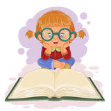 Small girl reading a book Stock Images