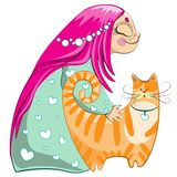 Small girl with red cat. Small girl cartoon character with red cat Royalty Free Stock Photography
