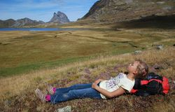 Small girl repose at Anayet plateau Royalty Free Stock Images