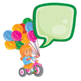 Small girl ride tricycle with balloons Stock Photos