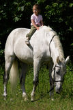 Small girl riding bareback by gray horse. Little beauty satisfied girl riding bareback by big gray beautiful big horse with black bridle royalty free stock photos