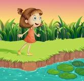 A small girl at the riverbank vector illustration