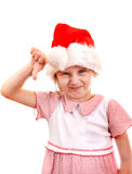 Small Girl in Santa Hat Stock Photo