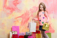 Small girl with shopping bag. Stock Images