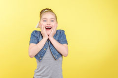 Small girl showing different emotions Stock Photography