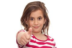 Small girl showing thumbs up Stock Images
