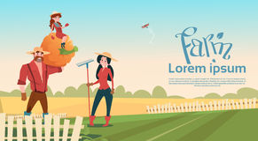 Small Girl Sit On Big Pumpkin Farmers Parents Daughter Gather Harvest Copy Space. Flat Vector Illustration stock illustration