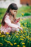 Small girl sitting in flower field and feel happy Royalty Free Stock Photos