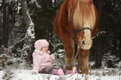Small girl sitting in the snow and big palomino horse standing n Royalty Free Stock Photography
