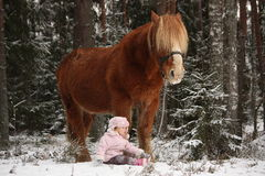 Small girl sitting in the snow and big palomino horse standing n Stock Photos
