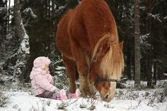 Small girl sitting in the snow and big palomino horse standing n Royalty Free Stock Photo