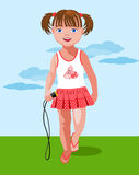 Small girl with a skipping rope Royalty Free Stock Image