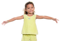 Small girl smiling with her arms wide open Royalty Free Stock Photo