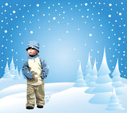 Small girl in the snow Stock Photo