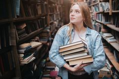 A small girl standing in a big old book store and holding many books in her hands. She is searching for another book to. Take with her. Young beauty looks royalty free stock images