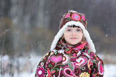 Small girl in strong snow fall Stock Photography