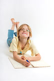 Small Girl studying Stock Images