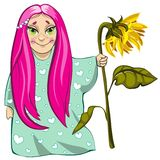 Small girl with sunflower. Cute small girl character with sunflower in hand Royalty Free Stock Images
