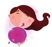 Small girl with sweet lollipop isolated on white Stock Photos