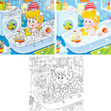 Small girl taking a bath. Little girl plays with her toys in a bath (3 versions of the illustration Stock Images