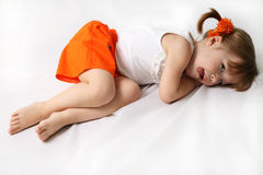 Small girl is tired Royalty Free Stock Photography