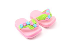Small Girl Toy Sandals. On a white background Royalty Free Stock Photography
