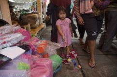 SMALL GIRL ON TRADITIONAL MARKET Stock Images