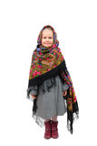 A small girl in traditional Russian kerchief Stock Photography