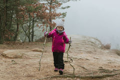 Small girl turist. Small girl walking in forest Royalty Free Stock Photography