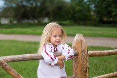 Small girl in ukrainian traditional clothes on the hedge Stock Image