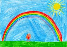 Small girl under the rainbow, child`s drawing royalty free illustration