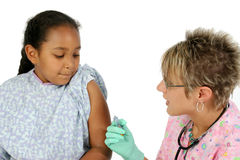 Small Girl Waits For Nurse To Give Her A Shot stock images