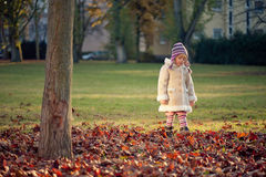 Small girl walking in a park Stock Photos
