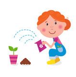 Small girl is watering plant in the garden. Farmer girl is planting small plant in pink pot. Vector Illustration Royalty Free Stock Photography