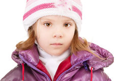 Small girl in winter coat Stock Images