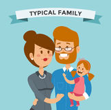 Small girl, woman and man happy family couple Royalty Free Stock Photography