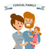 Small girl, woman and man happy family couple Stock Photography