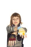 Small girl with a woolen gloves Royalty Free Stock Photo